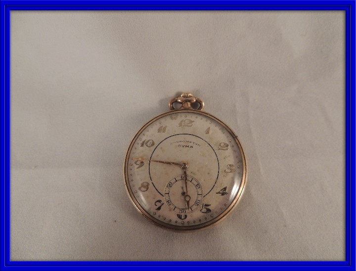 RELOJ BOLSILLO CYMA CRONOMETRO PLAQUE ORO15 RUBIES NUMERADO (Relojes - Bolsillo Carga Manual)