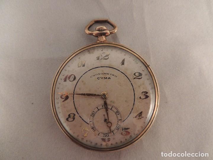Relojes de bolsillo: RELOJ BOLSILLO CYMA CRONOMETRO PLAQUE ORO15 RUBIES NUMERADO - Foto 3 - 105072851