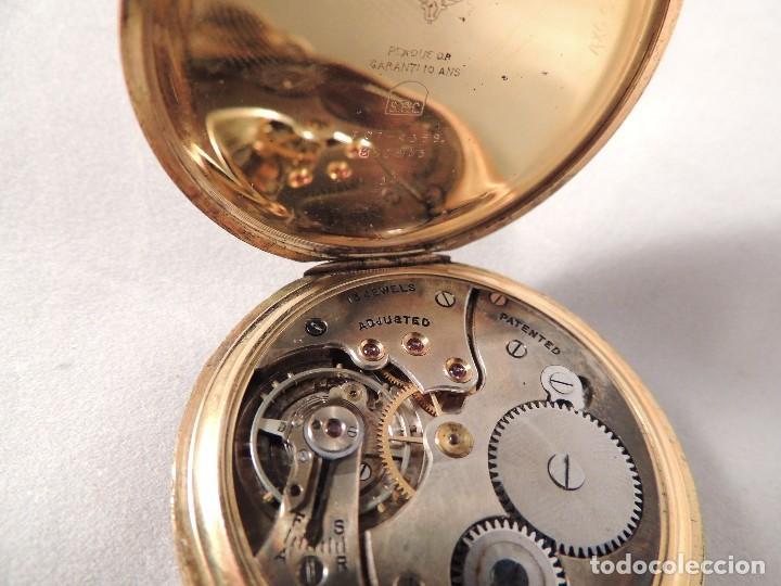 Relojes de bolsillo: RELOJ BOLSILLO CYMA CRONOMETRO PLAQUE ORO15 RUBIES NUMERADO - Foto 7 - 105072851