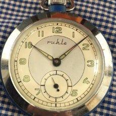 Relojes de bolsillo: CURIOSO RELOJ DE BOLSILLO MARCA RUHLA FABRICADO EN LA REPUBLICA DEMOCRATICA ALEMANA AÑOS 60. Lote 105329539