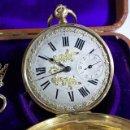 Relojes de bolsillo: ANTIGUO RELOJ BOLSILLO DE ORO PATENT LEVER Nº 23850 A CUERDA CON LLAVE. Lote 105480951