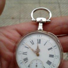 Relojes de bolsillo: RELOJ DE BOLSILLO DE PLATA DE LEY 925 CON LLAVE PARA DAR CUERDA FUNCIONA SIGLO XLX. Lote 106099079