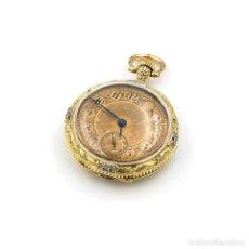 Relojes de bolsillo: RELOJ DE BOLSILLO VINTAGE, MARCA POITEVIN & V.LEJEUNE DE 1888, EN ORO AMARILLO 18KT CON DIAMANTES. Lote 106161079