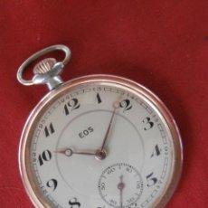 Relojes de bolsillo: ANTIGUO RELOJ ALEMÁN TIPO MILITAR DE BOLSILLO A CUERDA MANUAL MARCA EOS AÑOS 30 40 FUNCIONA BIEN. Lote 106534107