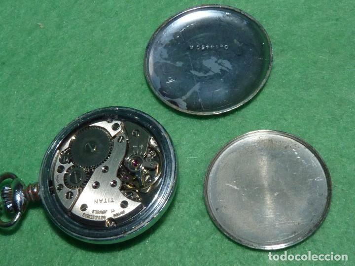 Relojes de bolsillo: Curioso reloj enfermera TITAN calibre FHF 96-4 carga manual 17 rubis fecha y cadena vintage años 60 - Foto 7 - 108273387