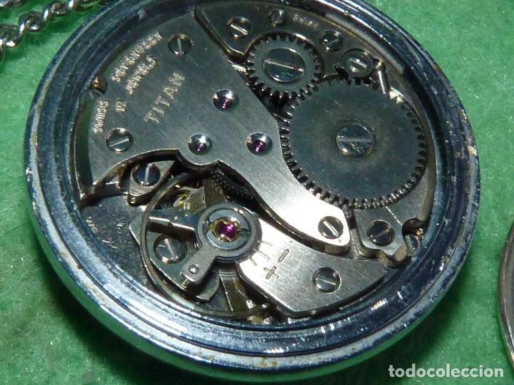 Relojes de bolsillo: Curioso reloj enfermera TITAN calibre FHF 96-4 carga manual 17 rubis fecha y cadena vintage años 60 - Foto 8 - 108273387