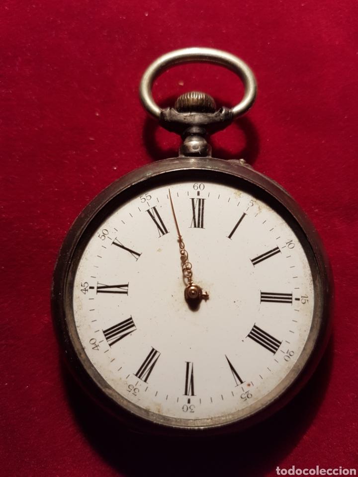 ANTIGUO RELOJ PLATA DE BOLSILLO (Relojes - Bolsillo Carga Manual)