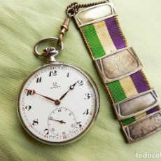 Relojes de bolsillo: OMEGA DE BOLSILLO, DE ACERO. CALIBRE 161. CON LEONTINA DE PLATA. Lote 108843931