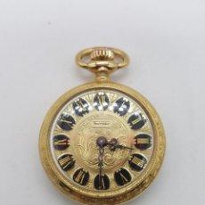 Relojes de bolsillo: RELOJ COLGANTE SABONETA ANTIGUO THERMIDOR DE CUERDA CHAPADO EN ORO DE LEY CON BELLOS GRABADOS .. Lote 109043311