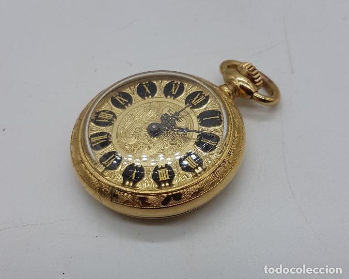 Relojes de bolsillo: Reloj colgante saboneta antiguo Thermidor de cuerda chapado en oro de ley con bellos grabados . - Foto 2 - 109043311
