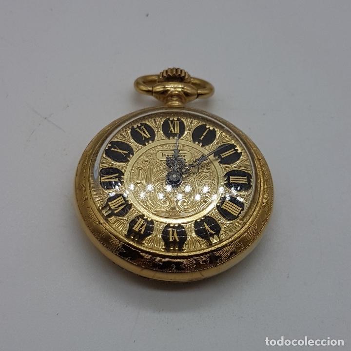 Relojes de bolsillo: Reloj colgante saboneta antiguo Thermidor de cuerda chapado en oro de ley con bellos grabados . - Foto 3 - 109043311
