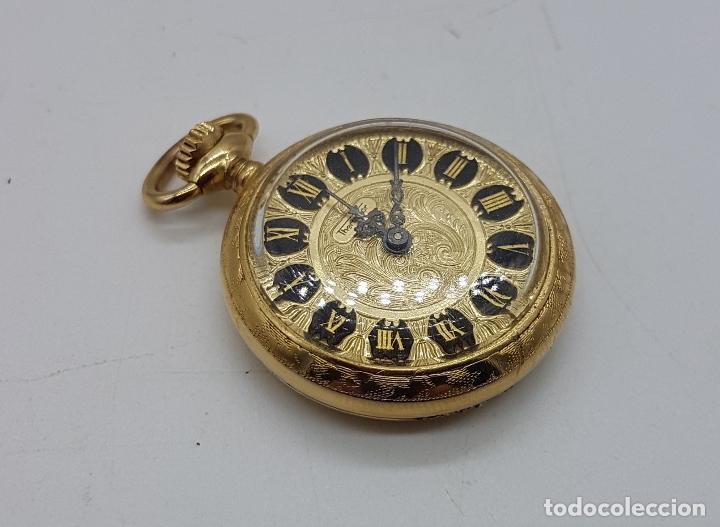 Relojes de bolsillo: Reloj colgante saboneta antiguo Thermidor de cuerda chapado en oro de ley con bellos grabados . - Foto 4 - 109043311