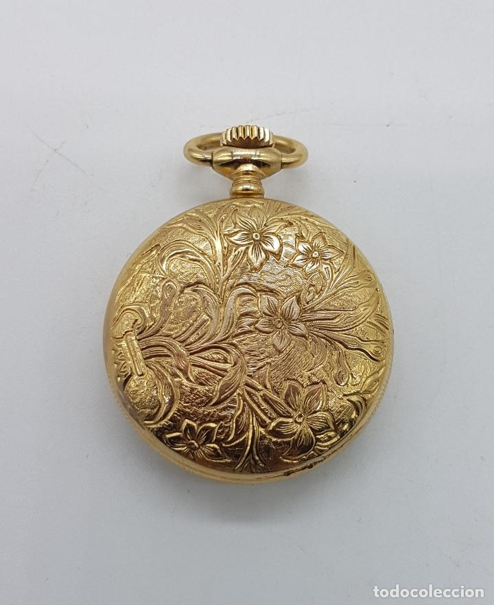 Relojes de bolsillo: Reloj colgante saboneta antiguo Thermidor de cuerda chapado en oro de ley con bellos grabados . - Foto 5 - 109043311