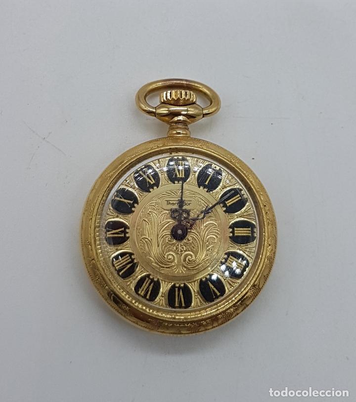 Relojes de bolsillo: Reloj colgante saboneta antiguo Thermidor de cuerda chapado en oro de ley con bellos grabados . - Foto 6 - 109043311