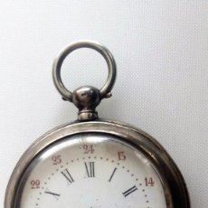 Relojes de bolsillo: RELOJ DE BOLSILLO, CYLINDRE 10 RUBIS, CON LLAVE DE CUERDA, CAJA DE PLATA, FUNCIONA. Lote 109970495