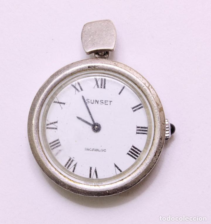6e28d31822c7 Reloj colgante de plata maciza 925 y zafiro. Marca sunset. 30mm sin contar  corona. 20 gramos