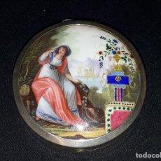 Relojes de bolsillo: ESMALTE DEL SIGLO XVIII. CAJA PLATA . RELOJ DE BOLSILLO.. Lote 110651919