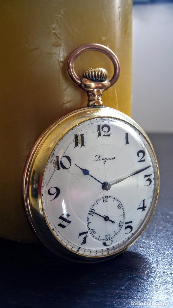 RELOJ DE BOLSILLO LONGINES PLACADO EN ORO C. 1900-1910 (Relojes - Bolsillo Carga Manual)