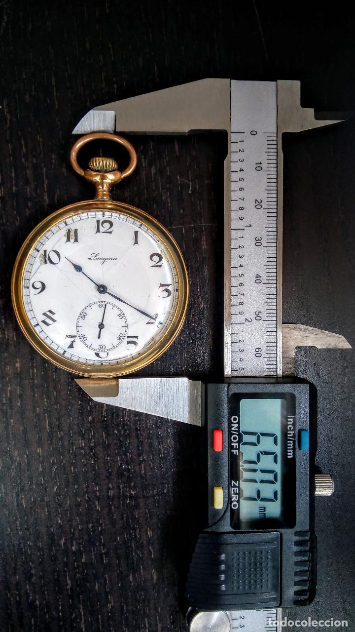 Relojes de bolsillo: Reloj de bolsillo Longines placado en oro c. 1900-1910 - Foto 7 - 110864623