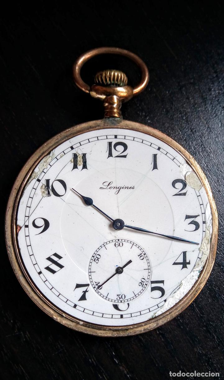 Relojes de bolsillo: Reloj de bolsillo Longines placado en oro c. 1900-1910 - Foto 8 - 110864623