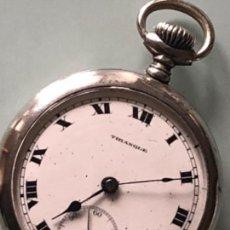 Relojes de bolsillo: RELOJ BOLSILLO MARCA TRIANGLE FUNCIONA CORRECTAMENTE CAJA PLATA 800, 45 MM. Lote 111597975