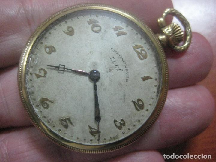 Relojes de bolsillo: BONITO RELOJ DE BOLSILLO MARCA CHRONOMETRE ELCE ART DECO LABRADO CHAPADO EN ORO DE 14 K FUNCIONANDO - Foto 2 - 111910875