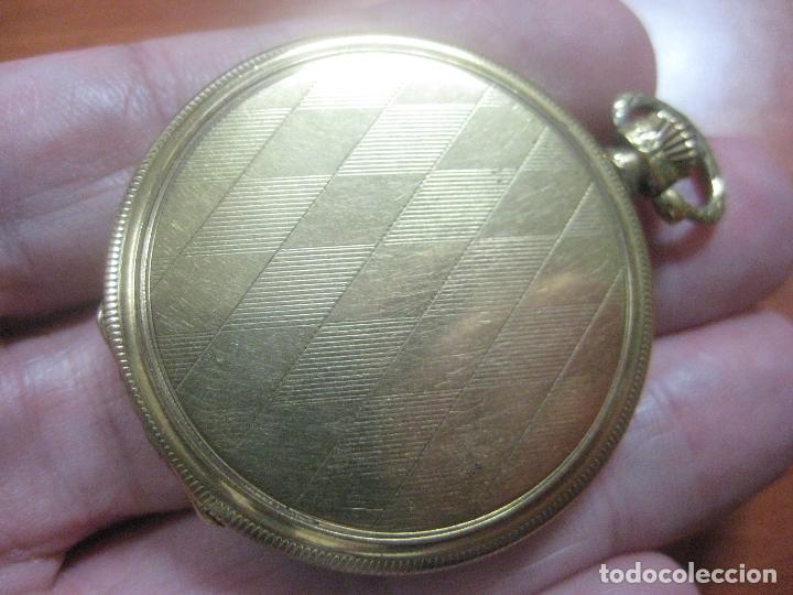Relojes de bolsillo: BONITO RELOJ DE BOLSILLO MARCA CHRONOMETRE ELCE ART DECO LABRADO CHAPADO EN ORO DE 14 K FUNCIONANDO - Foto 3 - 111910875