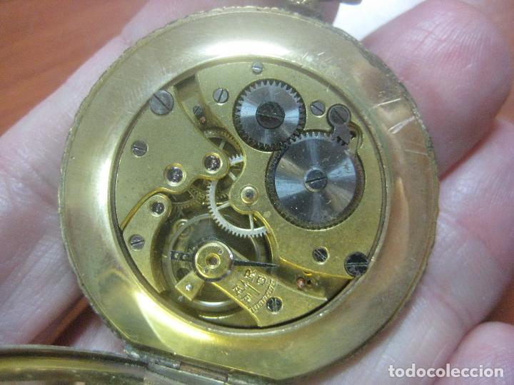 Relojes de bolsillo: BONITO RELOJ DE BOLSILLO MARCA CHRONOMETRE ELCE ART DECO LABRADO CHAPADO EN ORO DE 14 K FUNCIONANDO - Foto 5 - 111910875