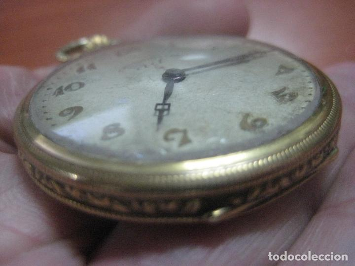 Relojes de bolsillo: BONITO RELOJ DE BOLSILLO MARCA CHRONOMETRE ELCE ART DECO LABRADO CHAPADO EN ORO DE 14 K FUNCIONANDO - Foto 15 - 111910875
