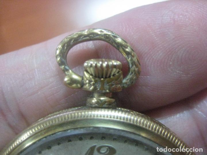 Relojes de bolsillo: BONITO RELOJ DE BOLSILLO MARCA CHRONOMETRE ELCE ART DECO LABRADO CHAPADO EN ORO DE 14 K FUNCIONANDO - Foto 16 - 111910875