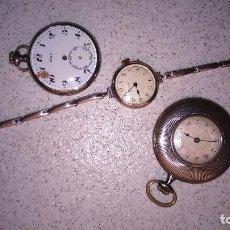 Relojes de bolsillo: 3 RELOJES DE BOLSILLO EN PLATA. Lote 111942787