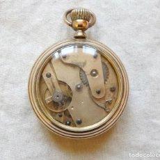 Relojes de bolsillo: RARO RELOJ BOLSILLO 1868,DE LATON Y ACRISTALADO PARTE TRASERA, FUNCIONA. Lote 111915595