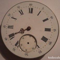 Relojes de bolsillo: BONITA MAQUINA RELOJ BOLSILLO Y RARA ESFERA PORCELANA - NO FUNCIONA - PARA REPARAR O PIEZAS. Lote 112279855