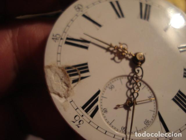 Relojes de bolsillo: RARA Y PRECIOSA MAQUINA RELOJ BOLSILLO CON ESFERA PORCELANA - FUNCIONANDO - Foto 3 - 112281135