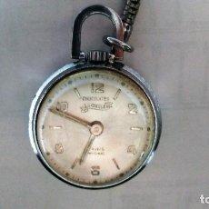 Relojes de bolsillo: PEQUEÑO RELOJ DE SEÑORA, PUBLICIDAD CHOCOLATES LA CIBELES, 17 RUBIS, DIAMETRO 25 MM, NO FUNCIONA. Lote 112330539
