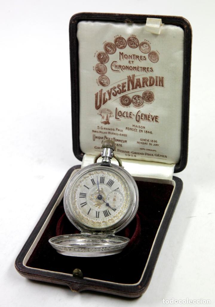 RELOJ DE BOLSILLO SIN MARCA EN CAJA ULYSSE NARDIN, VER FOTOS ANEXAS (Relojes - Bolsillo Carga Manual)