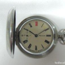 Relojes de bolsillo: ANTIGUO RELOJ DE CURDA MARCA MOLNIA REVISADO FUNCIONA TAPA ORIGINAL BUEN ESTADO RUSIA USSR. Lote 112748107