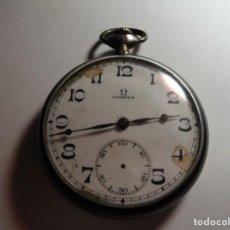 Relojes de bolsillo: MAGNIFICO ANTIGUO RELOJ DE PLATA OMEGA DE BOLSILLO CARGA MANUAL FUNCIONANDO,SALIDA 1 EURO. Lote 112917115