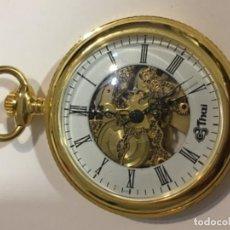 Relojes de bolsillo: RELOJ DE BOLSILLO THAI CARGA MANUAL Y CAJA CHAPADA ORO NUEVO . Lote 113011667