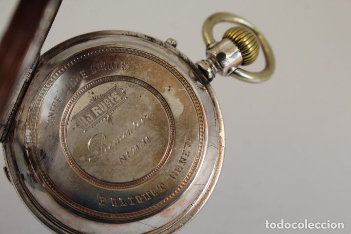 Relojes de bolsillo: reloj de bolsillo ancre ligne droite remontoir - plata labrada - funciona - Foto 2 - 119594424