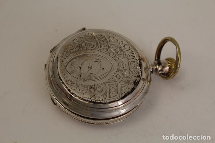 Relojes de bolsillo: reloj de bolsillo ancre ligne droite remontoir - plata labrada - funciona - Foto 3 - 119594424