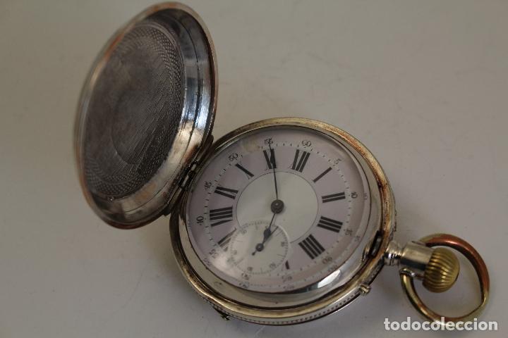 Relojes de bolsillo: reloj de bolsillo ancre ligne droite remontoir - plata labrada - funciona - Foto 4 - 119594424