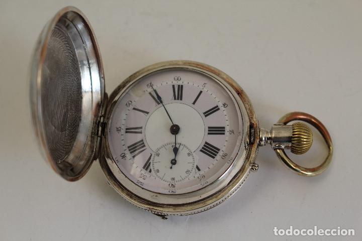 Relojes de bolsillo: reloj de bolsillo ancre ligne droite remontoir - plata labrada - funciona - Foto 5 - 119594424