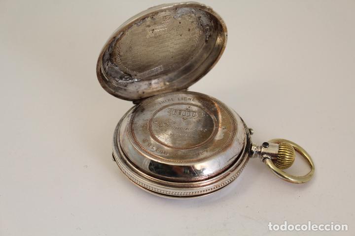 Relojes de bolsillo: reloj de bolsillo ancre ligne droite remontoir - plata labrada - funciona - Foto 6 - 119594424