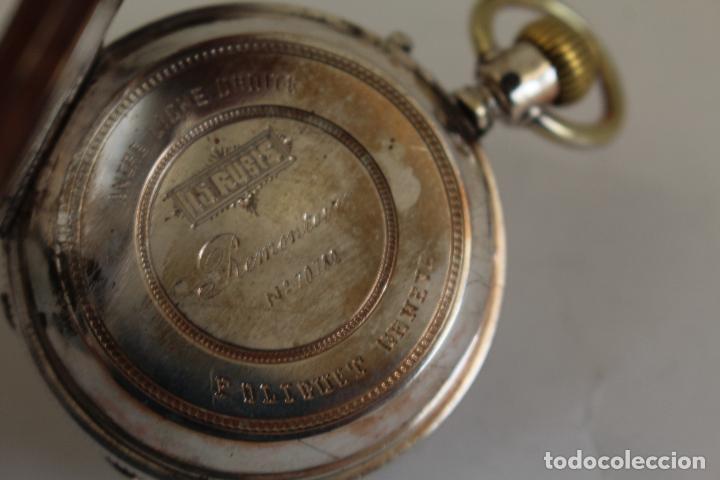 Relojes de bolsillo: reloj de bolsillo ancre ligne droite remontoir - plata labrada - funciona - Foto 7 - 119594424