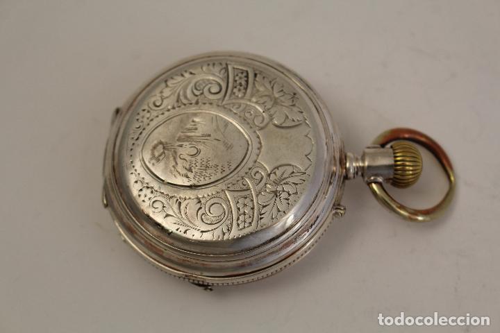 Relojes de bolsillo: reloj de bolsillo ancre ligne droite remontoir - plata labrada - funciona - Foto 9 - 119594424