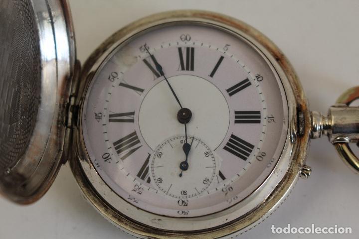 Relojes de bolsillo: reloj de bolsillo ancre ligne droite remontoir - plata labrada - funciona - Foto 10 - 119594424