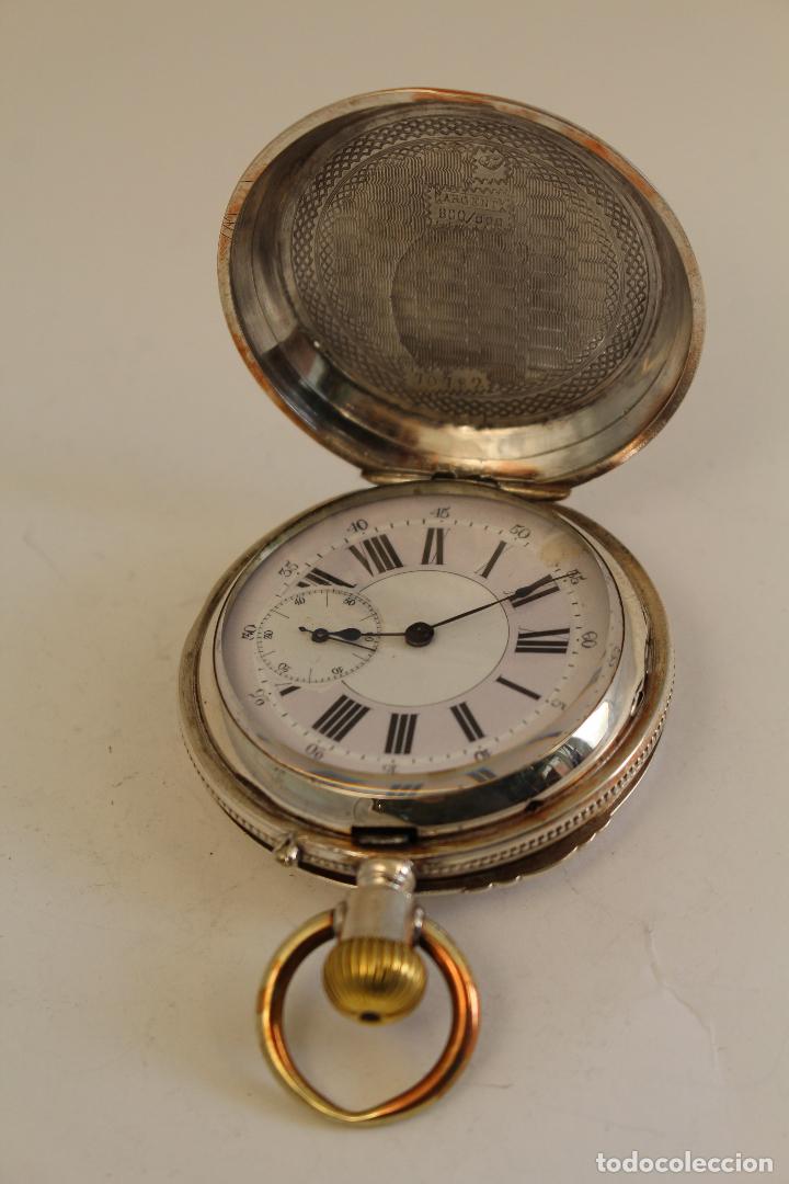 Relojes de bolsillo: reloj de bolsillo ancre ligne droite remontoir - plata labrada - funciona - Foto 11 - 119594424