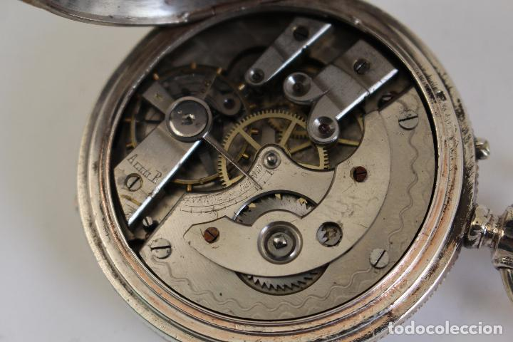 Relojes de bolsillo: reloj de bolsillo ancre ligne droite remontoir - plata labrada - funciona - Foto 14 - 119594424