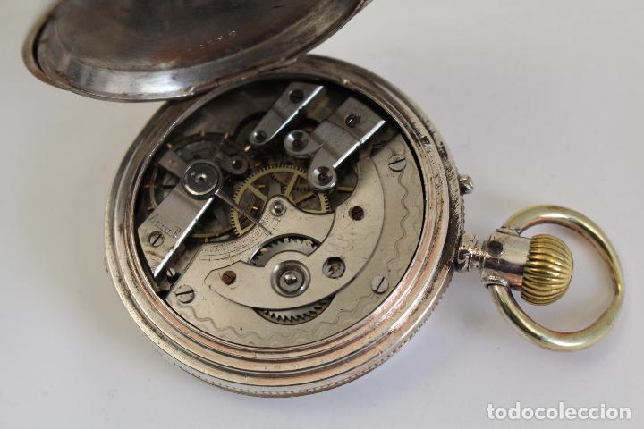 Relojes de bolsillo: reloj de bolsillo ancre ligne droite remontoir - plata labrada - funciona - Foto 15 - 119594424